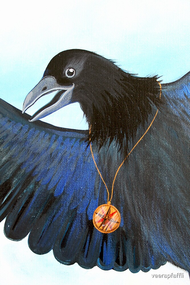 the Messenger black crow with compass painting by veerapfaffli