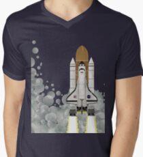 Space Shuttle T-Shirt mit V-Ausschnitt