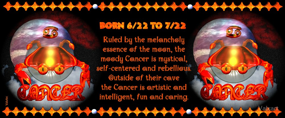 Valxart Gothic Cancer zodiac astrology  Born 6/22 to 7/22  and Ruled by the melancholy essence of the moon by Valxart