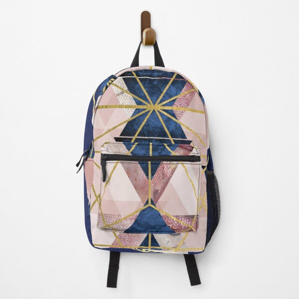 Blush Pink and Navy Geometric Perfection Backpack