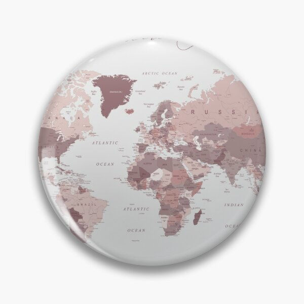 Pink World Map - Adventure Awaits Pin