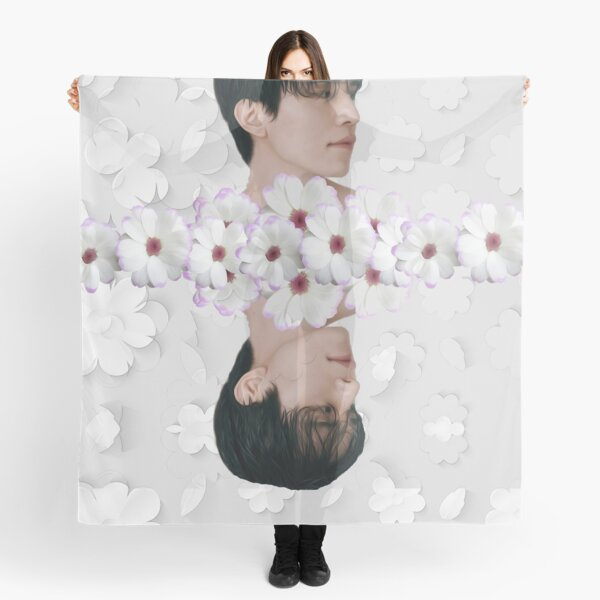 Lee Dong Wook + White Floral Scarf