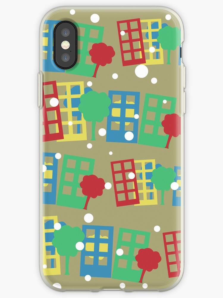 seamless pattern with cartoon town by Marina Sterina