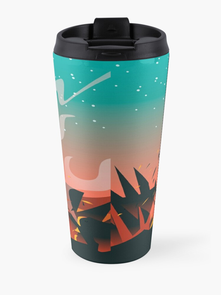 Alternate view of giant titan half frozen ice and half fire heat Travel Mug