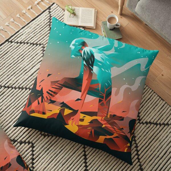 giant titan half frozen ice and half fire heat Floor Pillow