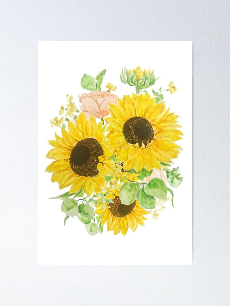 Yellow Sunflower Arrangement Watercolor 2020 Poster By Colorandcolor Redbubble