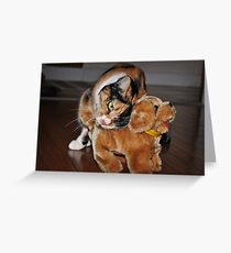 Cat Embraces Pet Dog Toy Greeting Card