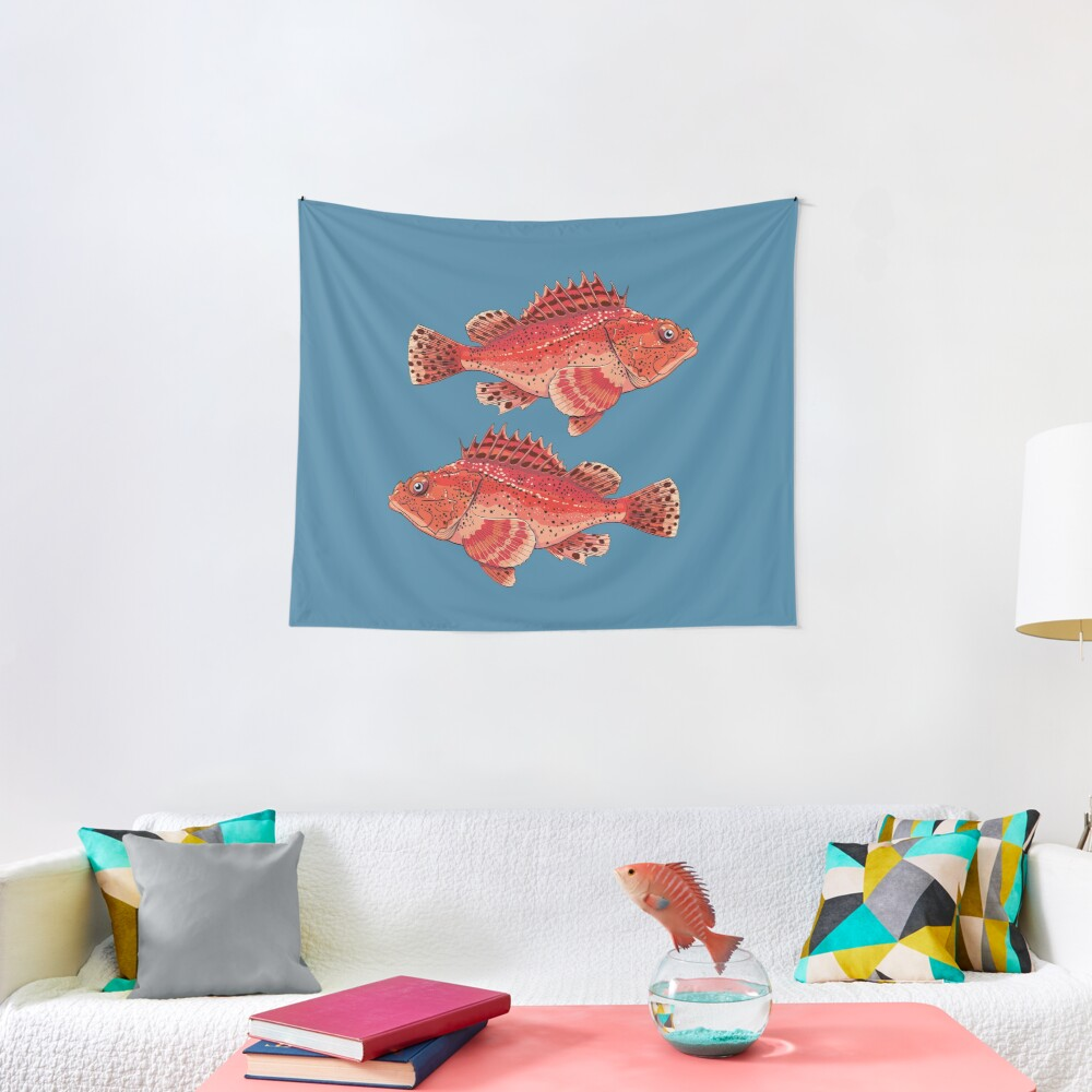 sea fish grouper red ugly Tapestry