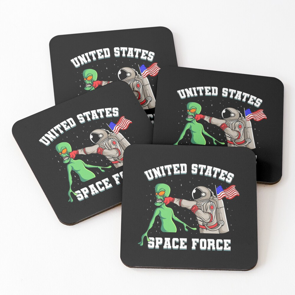 United States Space Force Alien Gift Coasters (Set of 4)