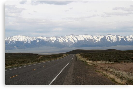 Loneliest Highway in America,outside Fallon Nevada,USA by Anthony & Nancy  Leake