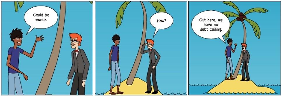 No Debt Ceiling Island cartoon by Binary-Options