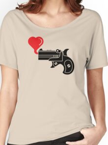 Pistol Blowing Heart Bubbles Women's Relaxed Fit T-Shirt