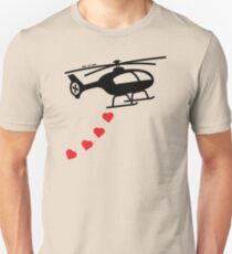 Army Helicopter Bombing Love Slim Fit T-Shirt