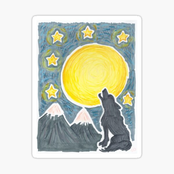 Howling at the Moon Sticker