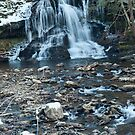 Winter water falls by Penny Fawver
