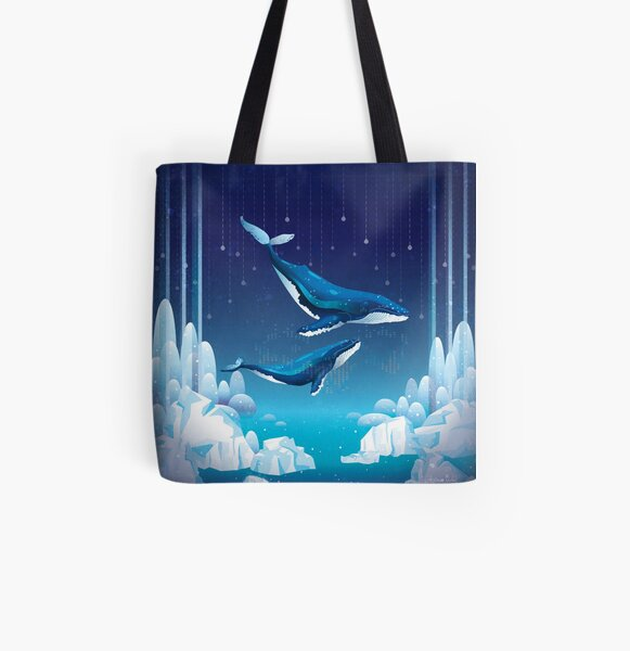 Whale Through Darkness All Over Print Tote Bag