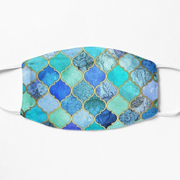Cobalt Blue, Aqua & Gold Decorative Moroccan Tile Pattern Flat Mask