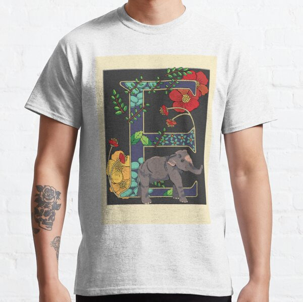 E is for Elephant, art nouveau style animal alphabet letter Classic T-Shirt