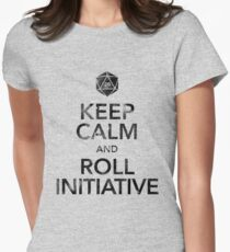 Keep Calm and Roll Initiative (Black Text) T-Shirt