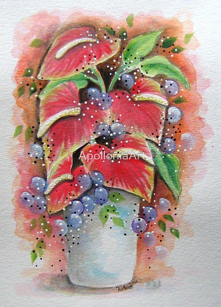 Tropical Flower Vase by ApolloniaArt