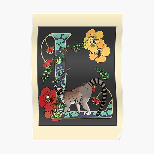 L is for Lemur, art nouveau style animal alphabet letter Poster