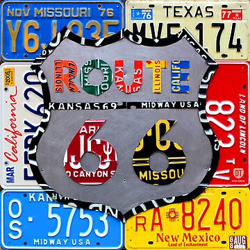 Route 66 License Plate Art by designturnpike