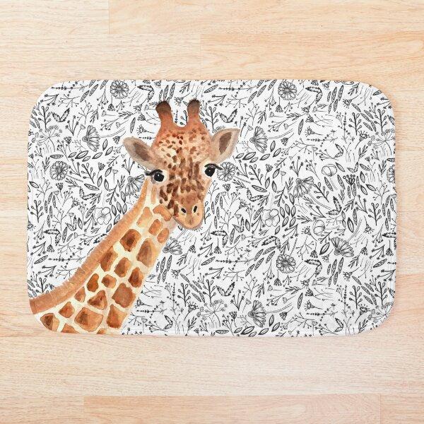 Watercolor Giraffe Bath Mat