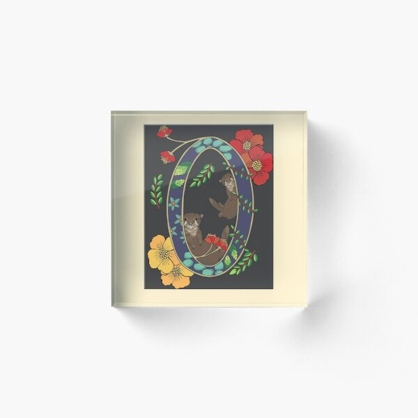 O is for Otters, art nouveau style animal alphabet letter Acrylic Block