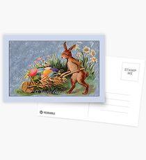 Easter Card-Bunny Pushing Cart Postcards