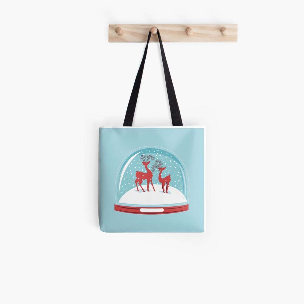 Snow-globe Couple Deer Tote Bag