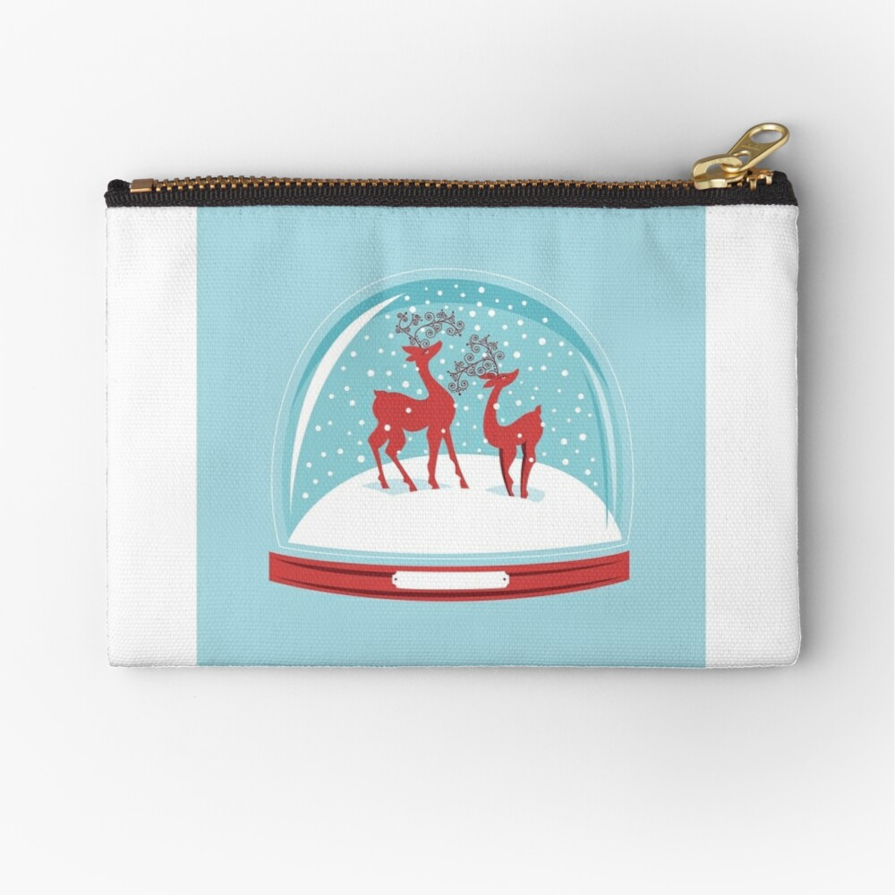 Snow-globe Couple Deer Zipper Pouch