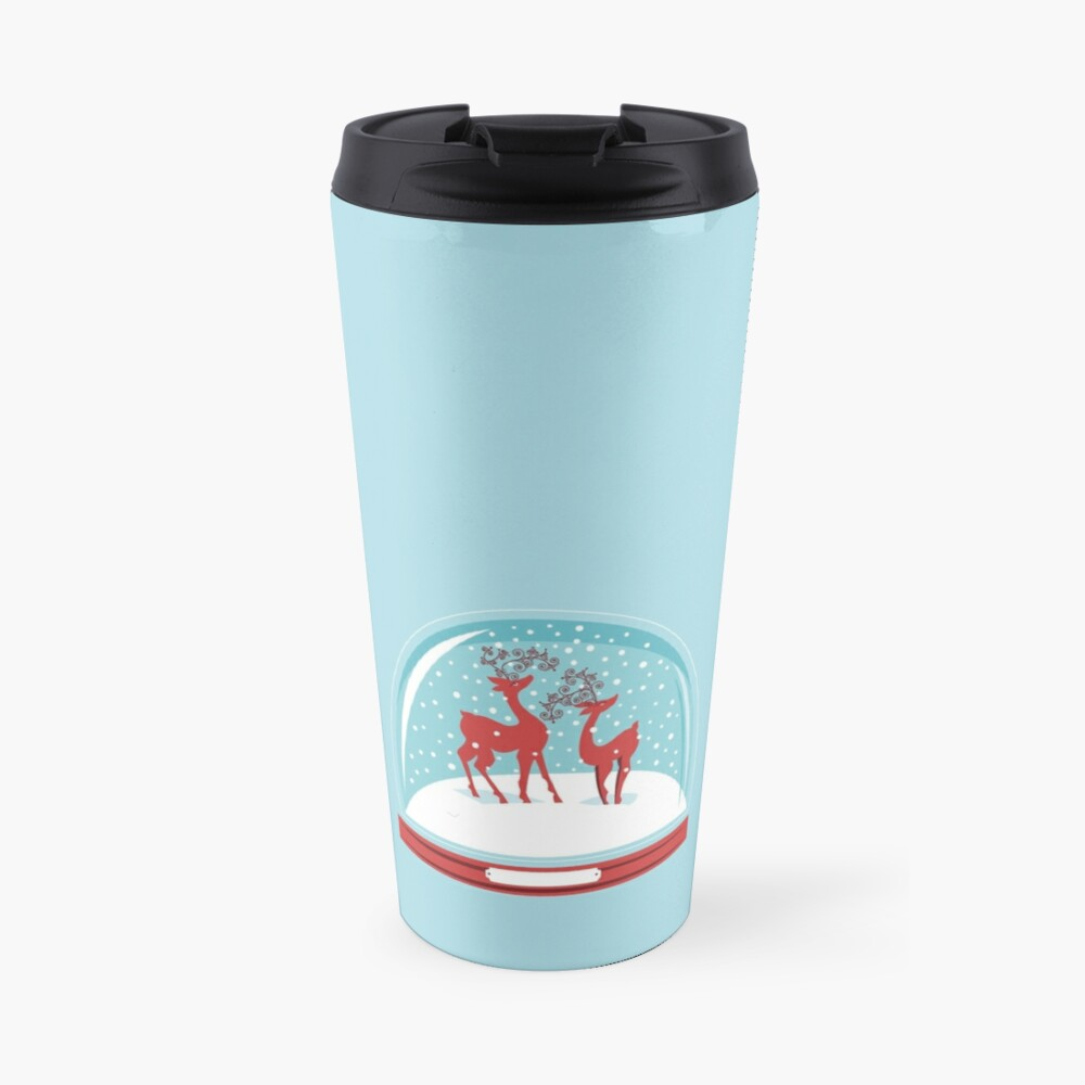 Snow-globe Couple Deer Travel Mug