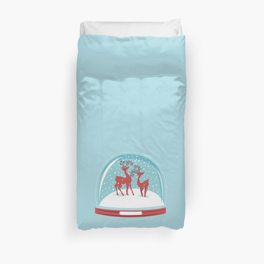 Snow-globe Couple Deer Duvet Cover