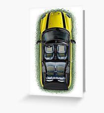 Mini Cooper Cabrio Print in Yellow Greeting Card