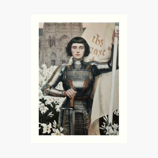A 1903 engraving of Joan of Arc. Art Print
