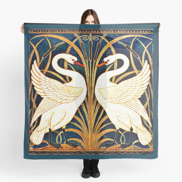 Swan and Rush and Iris, vintage design Scarf