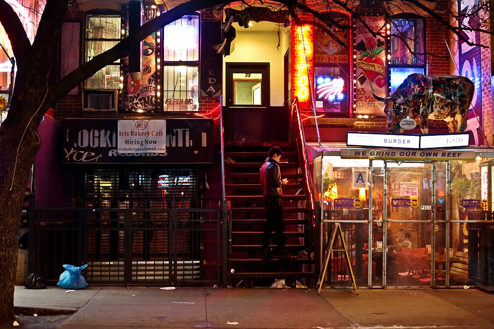 Night Lights - East Village - New York City by Vivienne Gucwa