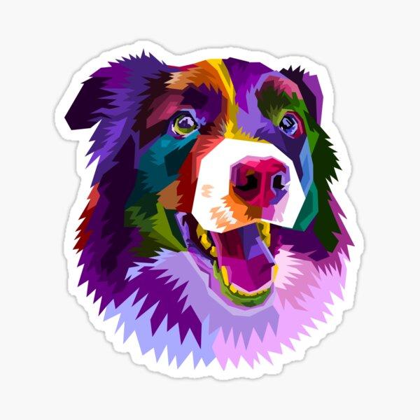 Colorful border collie dog pop art style Sticker