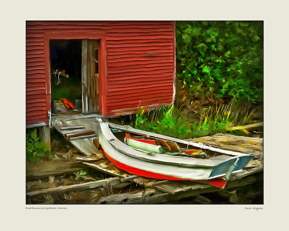 Boathouse,Georgetown Maine by Dave  Higgins