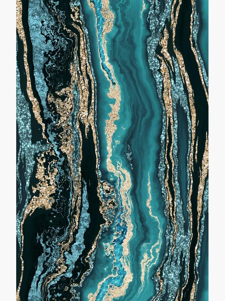 Turquoise Gold Sparkling Luxury Marble Gemstone Art by artsandsoul
