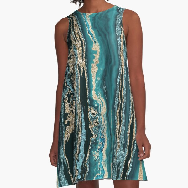 Turquoise Gold Sparkling Luxury Marble Gemstone Art A-Line Dress
