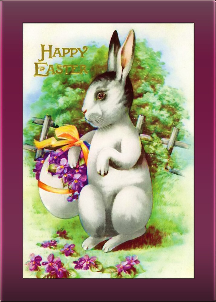 Easter Greetings-Bunny with Violets by Yesteryears