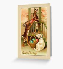 Easter Greetings-Bunnies and Lamb Greeting Card