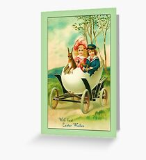 Easter Greetings-Kids in Egg Car Greeting Card