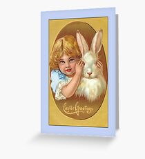 Easter Greetings-Little Girl with Bunny Greeting Card
