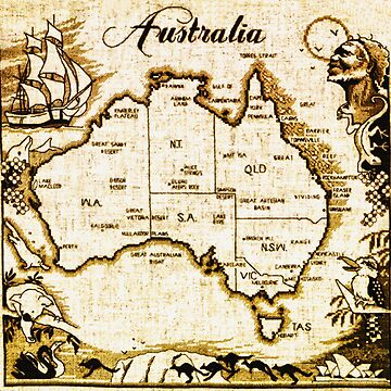 Vintage Australia Map by billcannon
