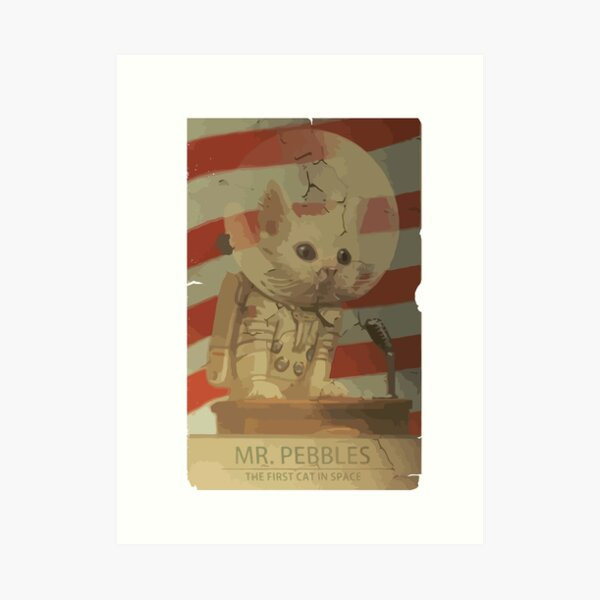 Mr. Pebbles - The first cat in space Art Print