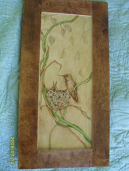 Hummer of a mom,  with birdies. by lynnieB