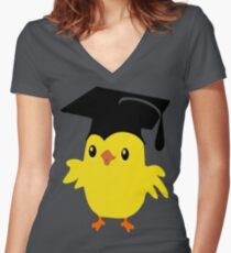 ღ°ټAdorable Nerd Chick on a Graduation Cap Clothing& Stickersټღ° Women's Fitted V-Neck T-Shirt