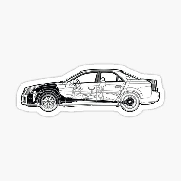 INC Au-Tomotive Gold Cadillac V CTS-V Logo Laser Etched Frame Black Gloss License Plate Frame